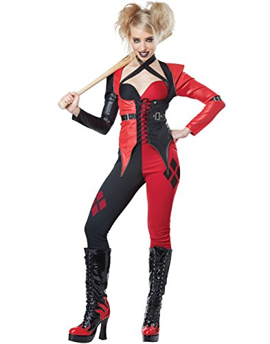 California Costumes Women's Psycho Jester Chick, Red/Black, Large