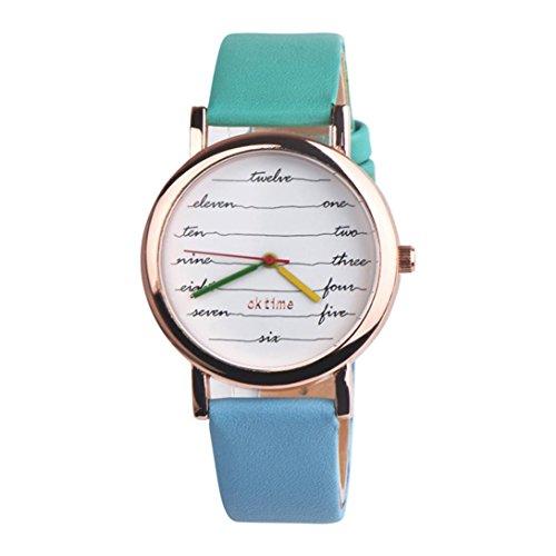 Nmch Fashion Casual Quartz Watch, Fancy Womens Electrocardiogram Leather Analog Watches (E)