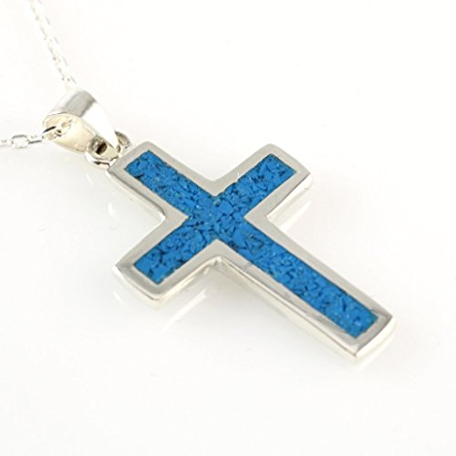 Sterling Silver Blue Turquoise Mosaic Cross Handmade Pendant Necklace 16+2''(40+5cm) Chain (Cross Blue Mosaic)