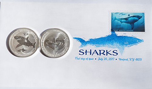 Australia Shark Silver Coin Set - 2014 1/2 oz Silver Great White Shark and 2015 great Hammerhead Shark Uncirculated (Silver Ounce Coin 0.5)