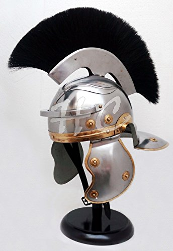 Roman Soldier Centurion Helmet Officer Costume with Black Plume Medieval Armour