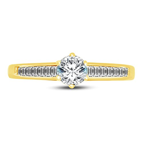 (Size - 7 - 14k Yellow Gold Round Channel Set Small Graduated Solitaire Engagement Ring CZ Cubic Zirconia (1.0cttw., .50ct. Center))