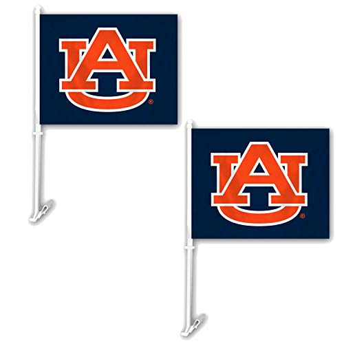 NCAA Official National Collegiate Athletic Association Fan Shop Authentic 2-Pack Car Flag. Show School Pride While Driving (Auburn Tigers)