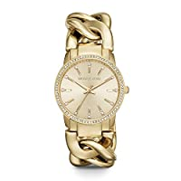 Deals on Michael Kors Nini Crystal Gold Dial Chain Link Ladies Watch