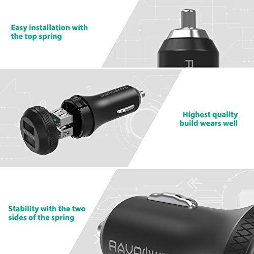 Quick Charge 3.0 Car Charger RAVPower 40W 3A Car Adapter with Dual QC USB Ports for Galaxy S9 S8 Plus Note 8 Note 7, iSmart Tech for iPhone X 8 8 Plus, iPad Pro Air Mini, Pixel, Nexus and More by RAVPower (Image #4)