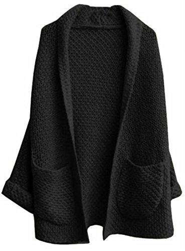 Long Black Sweater Coat - 8