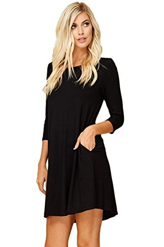 Black Swing 3 Neck Scoop Sleeve 4 Dress Comfy Women's Annabelle Pockets qwn0OPvv