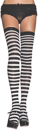 Leg Avenue Women's Stockings Thi Hi Striped, - Halloween Striped Ideas Costume And White Black