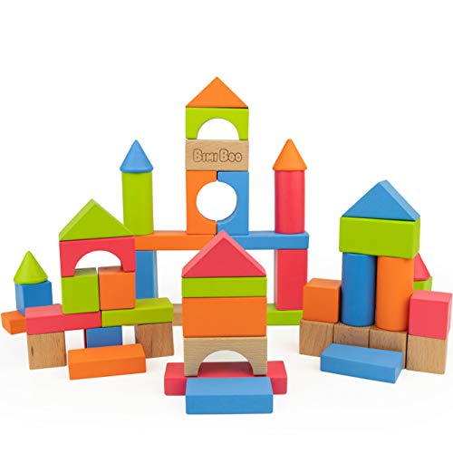 Bimi Boo Wooden Building Blocks for Kids - 50 Colored Pieces Gift Educational Toy Set for Toddlers Preschool Age, Build & Play Games, Wood Stackable Bricks in Variety of Colors, Shapes & Sizes