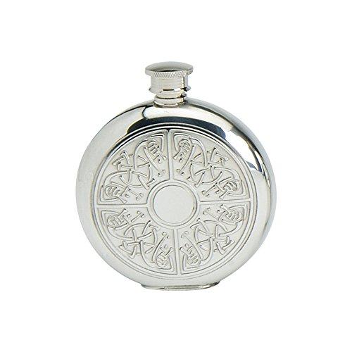 - Edwin Blyde & Co Spirit Flask - Traditional Round Shape Embossed Classic Celtic Quadrant Design, 6 oz, Pewter 14 x 10 x 4 cm