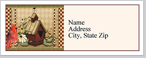 (120 Personalized Return Address Labels Primitive Country Birdhouse Cardinal Bird (bx 370))