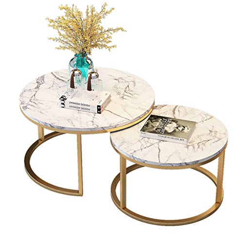 DXJNI - Wrought Iron Combination Coffee Table, Marble Tea Table, Clear Texture, for Living Room Office, Round, Two-Piece Coffee Tables
