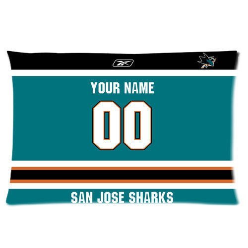 San Jose Sharks Hockey Pillowcase Rectangle Zippered Two Sides Design Printed 20x26 Pillow Case Cover (San Jose Sharks Decor compare prices)