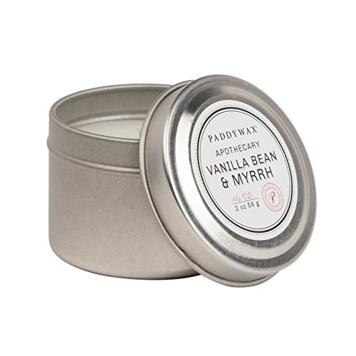 Paddywax Candles Apothecary Collection Soy Wax Blend Candle in Travel Tin, Small, 2 Ounce, Vanilla Bean and - Tins Travel Paddywax