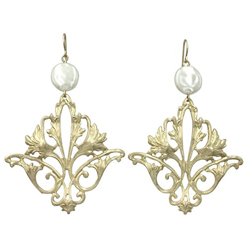 Abstract Filigree Boutique Style Dangle Earrings (Gold Tone Flair) -