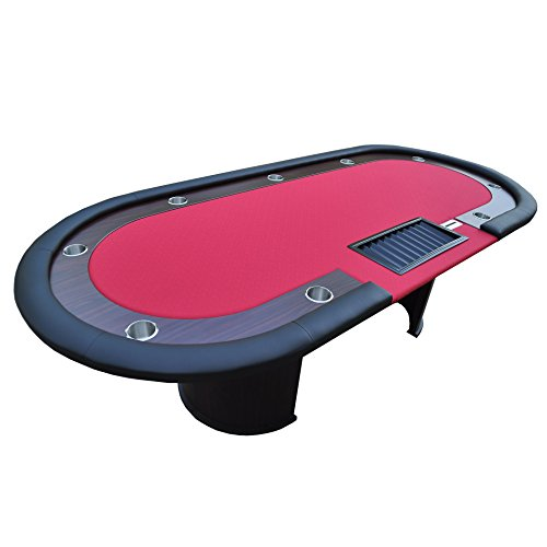IDS Poker Poker Table for 96 x 43 Inch Oval 10 Players Red Speed Cloth Racetrack Cup Holders Chip Tray Money Drop Box Wooden Legs
