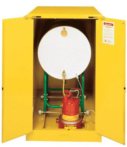 Justrite 899320 Sure-Grip Horizontal Drum Cabinet, Self-Close, 55 Gal, Yellow