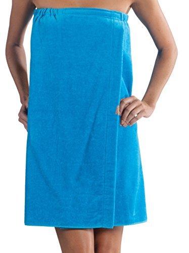 Velour Bath Wrap (Ladies Bath Wrap Terry Cotton Women Cover Up, Made in USA,Aqua, One)