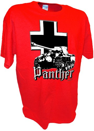 Red Top Division T-shirt - Men's Panther Iron Cross Panzer WW2 D-Day SS Division RC Tank T Shirt By Achtung T Shirt LLC
