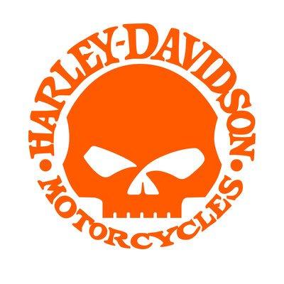 Harley Davidson replica teschio decal skull adesivo prespaziato senza fondo in vinile colore oro matt 15 centimetri.