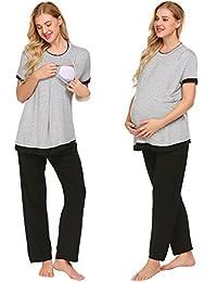 Ekouaer Maternity & Nursing Pajama Set,Patchwork Breastfeeding Sleepwear S-XXL