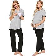 Ekouaer Maternity Nursing Pajama Sets Short Sleeve Breastfeeding Clothes(Grey,M)