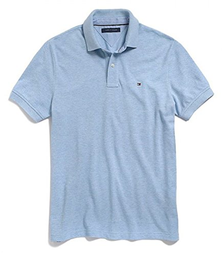 Tommy Hilfiger Mens Custom Fit Solid Color Polo Shirt (Medium, Light Blue)