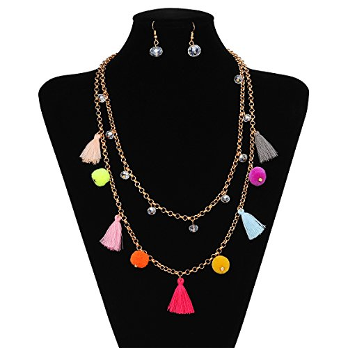 IPINK-Colorful Tassel Gold Tone Crystal Strand Long Necklace Earrings Set -