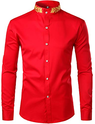 ZEROYAA Mens Hipster Gold Embroidery Mandarin Collar Slim Fit Long Sleeve Casual Dress Shirts Z52 Red Large ()