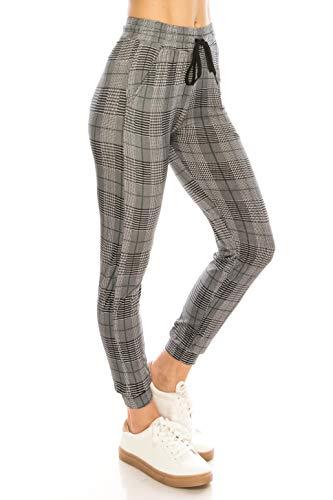(ALWAYS Women Drawstrings Jogger Sweatpants - Super Light Skinny Fit Premium Soft Stretch Plaid Checkered Pockets Track Pants Green White S/M )