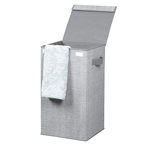 mDesign Cubo de ropa para lavado color gris - Cesto plegable para colada - Cesta para ropa sucia con tapa - Ideal como bolsa para guardar ropa durante ...