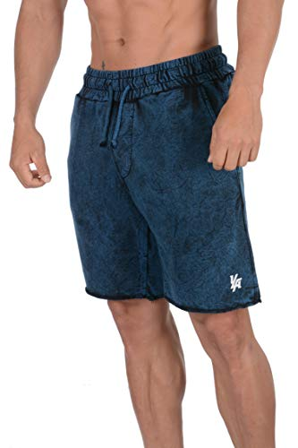 YoungLA Gym Shorts for Men French Terry Cotton Workout Casual Athletic Basketball with Pockets 107 Blue Washed Large