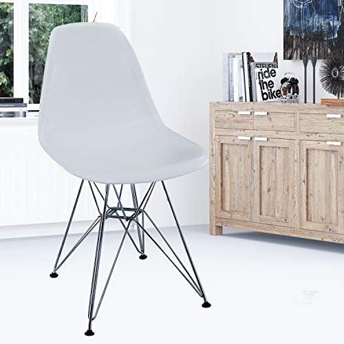 sweethome Lot de 4 chaises de Salle à Manger en métal moulé avec Chaise en Acier et Pieds en Acier moulés pour la Salle à Manger Salon et Cuisine,Blanc