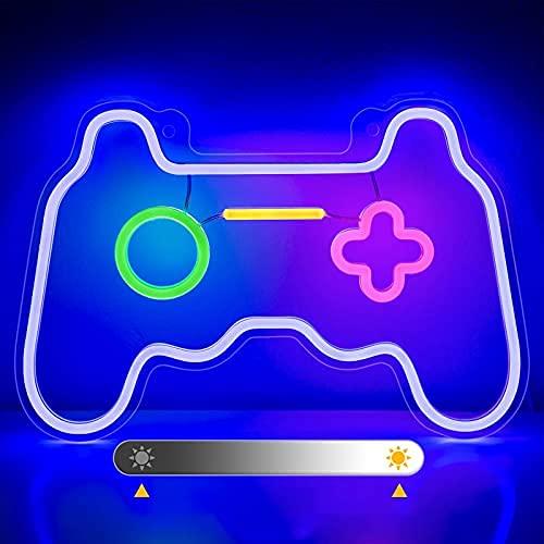 SOLIDEE Néon LED Gradable Gamepad Sign Décor Léger Neon Light Alimenté par USB Décor Mural pour Noël, Fête d'anniversaire, Chambre d'enfants, Salon, Décoration de Fête