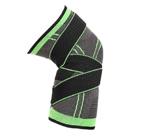 WoCoo 3D Support Knee Sleeve Brace,Improved Circulation Compression Wear Anywhere Knee Sleeve, Compression Fit Support -for Joint Pain and Arthritis Relief Adjustable Weaving Knee Brace Green)