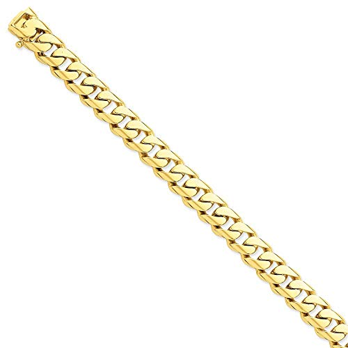 Roy Rose Jewelry 14K Yellow Gold 11mm Hand-polished Rounded Curb Chain Bracelet ~ Length 8'' inches