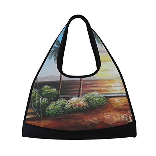Duffel Bags Hawaii Straw Hut with Palm Trees On Sunset Womens Gym Yoga Bag Fun Tote Beach Bag for Men