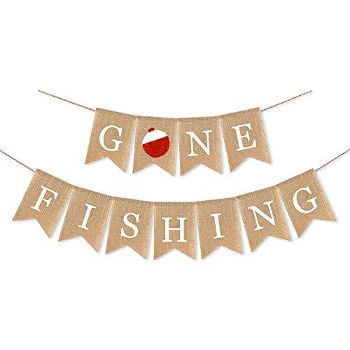 (Jute Burlap Gone Fishing Banner Retirement Fishing Baby Shower Birthday Party Decoration)