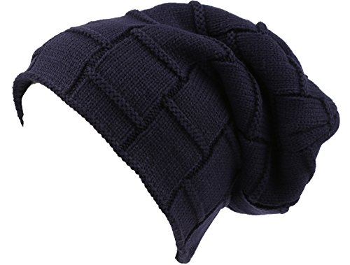 Sakkas 16145 - Volc Long Tall Pleated Faux Fur Shearling Lined Unisex Winter Hat Beanie - Navy - OS