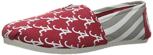 Forever Collectibles NCAA Alabama Crimson Tide Women's Canvas Stripe Shoes, Small (5-6), Red ()