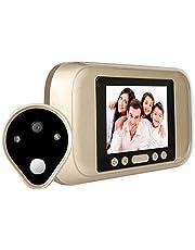 SODIAL Mirilla digital LED de 3.2 pulgadas Camara Visor de puerta 960P con memoria interna Soporte de tarjeta SD de hasta 32 GB La vision nocturna Enchufe de la EU