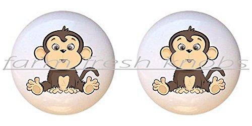 Monkey Drawer Knobs (SET OF 2 KNOBS - Cute Cartoon Monkey - Monkeys - DECORATIVE Glossy CERAMIC Cupboard Cabinet PULLS Dresser Drawer KNOBS)