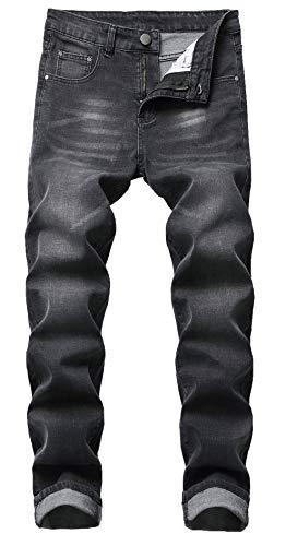 Qazel Vorrlon Men's Light Blue Skinny Ripped Jeans Destroyed Distressed Pencil Pants Washed Deep Grey,Size - Denim Bleach