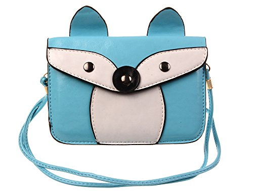 KISS GOLD(TM) Lovely 3D Fox Mini Shoulder Bag Cellphone Pouch(H-Blue)