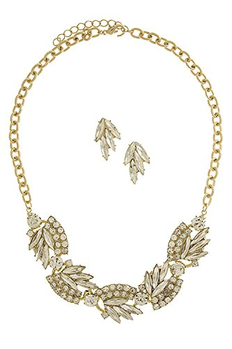 [THE JEWEL RACK CRYSTAL LEAF PATTERN NECKLACE SET (Clear/Gold)] (Lobster Claw Costume Pattern)
