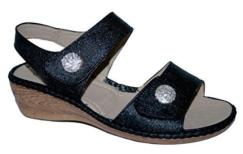 verano Button de sandalias cuña Walk Slingback Mujer talón ligero Black cojín comodidad xXtqPS