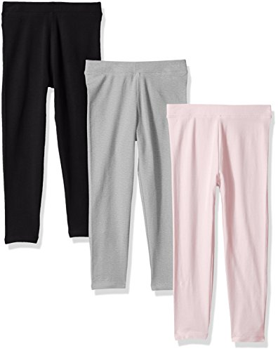 Amazon Essentials Girls' 3-Pack Leggings, Black/Heather Grey/Light Pink, 4T by Amazon Essentials
