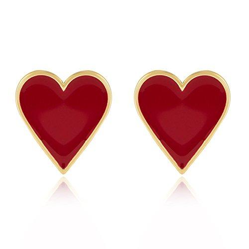 Gold Tone Black Red Enamel Lucky Poker Set Earrings Fashion Charm Jewelry (red hearts)