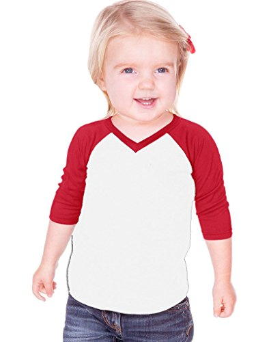 Kavio! Unisex Infants Sheer Jersey Contrast V Neck Raglan 3/4 Sleeve White/Red 12M (Infant Baseball Shirt)