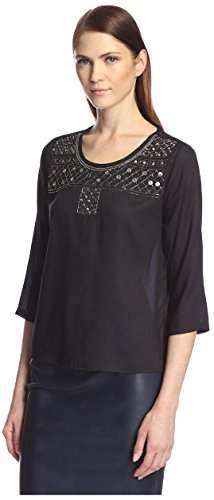 SOCIETY NEW YORK Women's Embellished Scoop Neck Top, Black, (Embellished Scoop Neck Top)